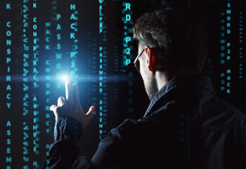 hacker at work with gui interface background