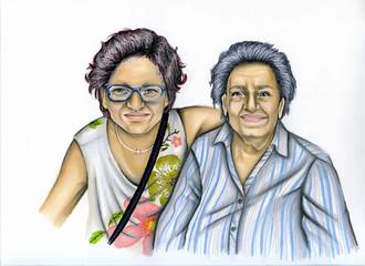 nonna e mamma caricatura