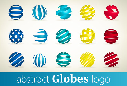 Set of abstract globes logo