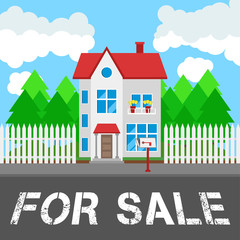House for sale along the road. Part of the rural and urban landscape. Vector illustration in flat style.