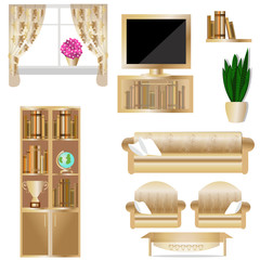 The interior of the living room. Furniture set for living room vector illustration