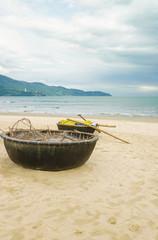 Bamboo boat on China Beach in Danang in Vietnam