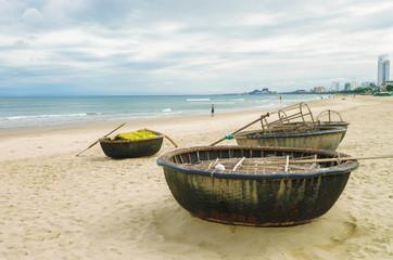 Bamboo boats at the China Beach in Danang Vietnam