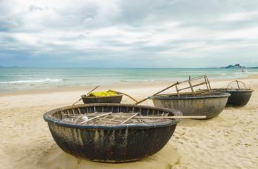 Bamboo boats at the China Beach in Danang in Vietnam