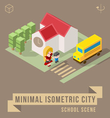 Set of Isolated Isometric Minimal City Elements. School Scene with Shadows.