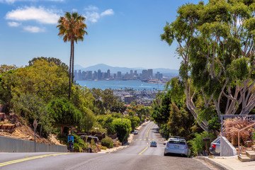 The view of the city of San Diego with city streets