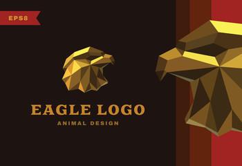 Vector logo. Golden Eagle Polygon