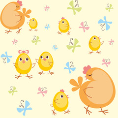 Colorful children's seamless pattern in cartoon style with the image of hen and little chickens