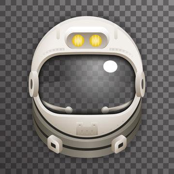 Realistic Helmet 3d Cosmonaut Astronaut Spaceman Tantamareska Poster Transperent Glass Background Icon Template Mock Up Design Vector Illustration