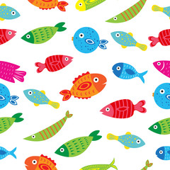 Fish seamless texture, fish, background, wallpaper. Vector illustration