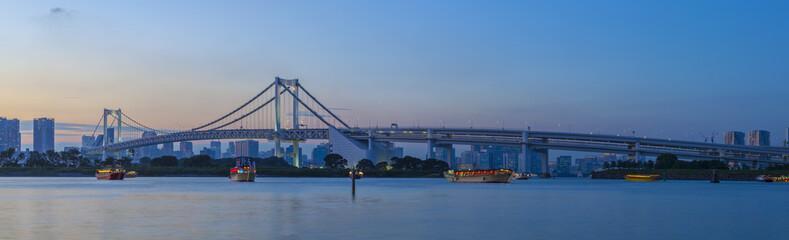 beautiful dusky sky city scape of rainbow bridge important landm