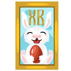Easter Bunny with chocolate egg, picture on wall