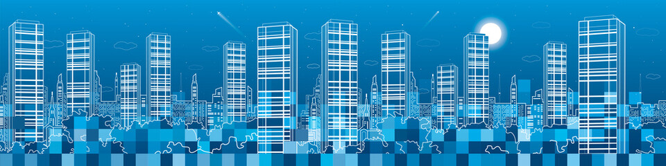 Night megalopolis, city under construction, pixels, a lot of squares, in developing, neon town panorama, vector design art