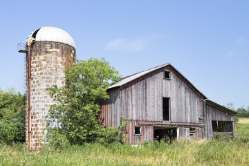 Old Barn and Weathered Silo