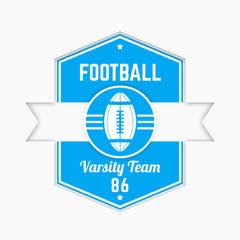 American football logo, badge, modern tetragonal emblem