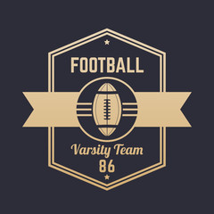 American football vintage logo, badge, emblem, vector illustration