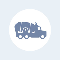concrete mixer truck icon isolated on white, vector illustration