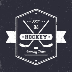 Hockey vintage emblem, logo with crossed sticks