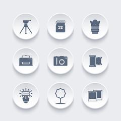 photo equipment icons, camera, tripod, memory card, film, lens, softbox, flash