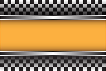 Checkered pattern and yellow space design for race sport background vector illustration.