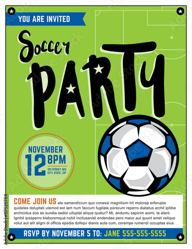 soccer party invitation template illustration stock image and