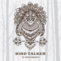 Vector Illustration Bird Talker on White background.