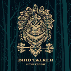 Vector Illustration Bird Talker. Decorative graphics.