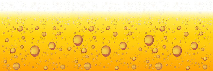 Beer with Foam and Bubbles. Vector Horizontal Background