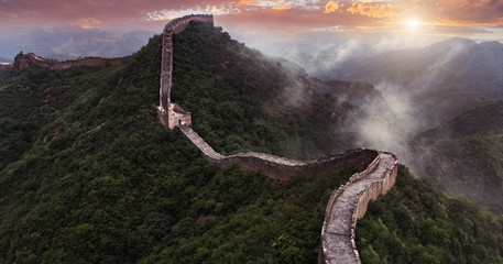 Foto op Plexiglas Chinese Muur The Great wall of China: 7 wonder of the world.