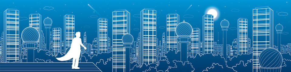 Megalopolis futuristic panorama, night town skyline, tower and skyscrapers, superhero on a roof, above the city, white lines landscape, vector design art