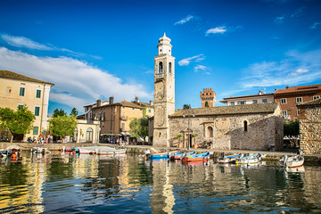 Small, romantic port in Lazise at Lake Garda in Italy. Wall mural