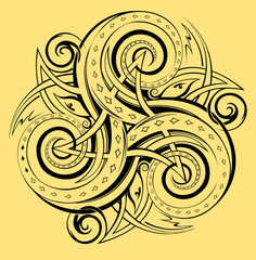 Celtic disk ornament with triple spiral symbol, white and black vector image.
