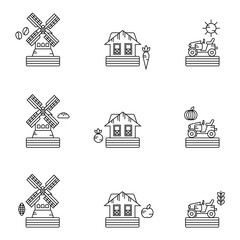 Organic farm products vector icon set