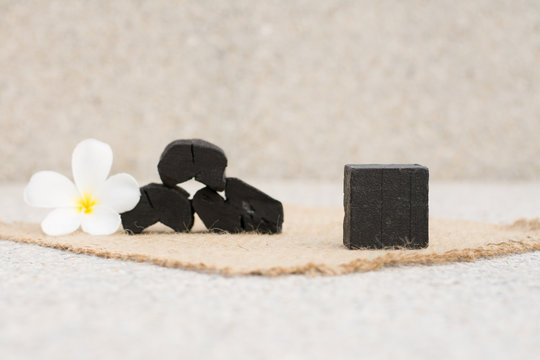 Block of natural carbon soap,Natural charcoal soap,Health-care nature concept.