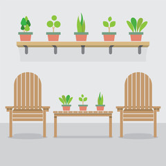 Wooden Garden Chairs And Pot Plants Vector Illustration