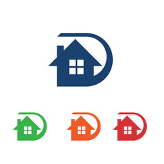 D Letter Cool Home House Logo Icon