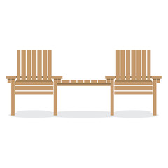 Wooden Garden Chairs With Table Vector Illustration