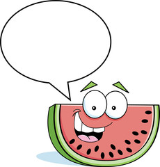 Cartoon illustration of a watermelon with a caption balloon.