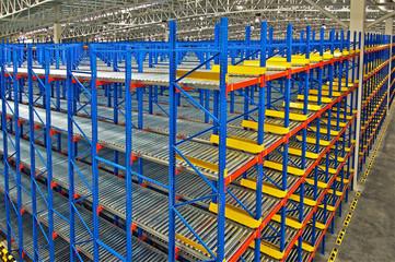 Storage shelf in warehouse distribution center.
