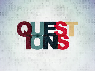Studying concept: Questions? on Digital Data Paper background