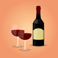 Wine cartoon vector illustration