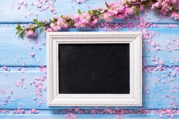 Sakura pink flowers  and empty blackboard on blue wooden  backgr