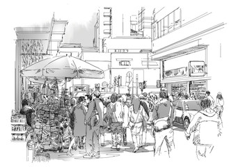 sketch of crowd of people in commercial and busy street