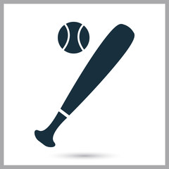 Baseball bat and ball icon on the background