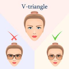 Glasses for the V-triangular face