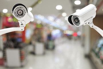 CCTV system security in the Shopping Mall blur with bokeh backgr