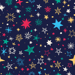 Seamless pattern with handdrawn stars. Doodle vector illustration.