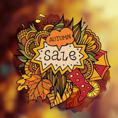 Vector decorative autumn sale blurred background