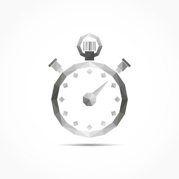 Stop watch, vector illustration on low poly style