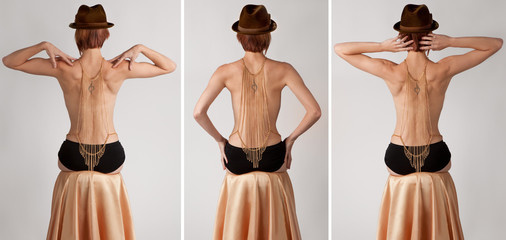 Triptych of Woman's Bare Back With Cross Body Chain Wall mural